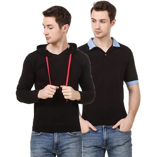 Amiable Solid Men Round Neck Black/ black T-Shirt