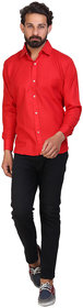 Akaas Men's Red Solid Button down Slim Fit Formal Shirt