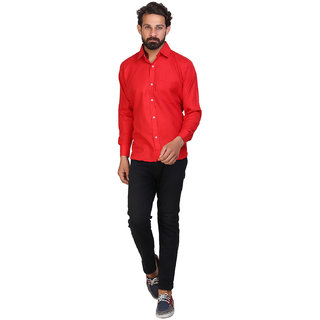 a1236863b2 Buy Akaas Men s Red Solid Button down Slim Fit Formal Shirt Online ...