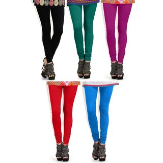 TSL Cotton Multicolor Women's Pack Of 5 Legging OLC-5-1