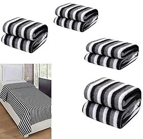 Peponi Pack of 5 Black and White Stripe Single Bed AC Fleece Blanket ( Size Single 60X90 Inch )