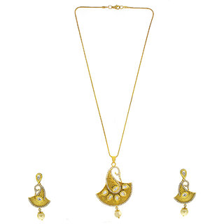 Anuradha Art Designer Mango Shape Styled With American Diamonds Kundan Pendant Set For Womens/Girls