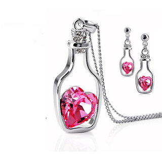 Drift Bottle Shaped Heart Filled Crystal Pendant Clavicle Chain Necklace and Earrings (Pink)