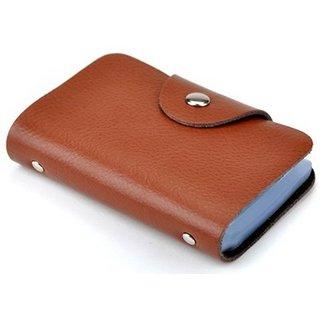 DE Men Brown PVC Leather Card Holder (12 Card Slots)