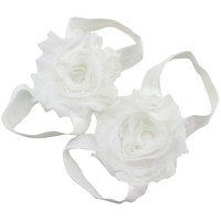 Pinkxenia White Newborn Baby Boutique Elastic Rosset Shabby Chiffon Flower Barefoot Sandal Shoes