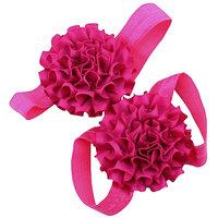 Pinkxenia Fuschia Pink Newborn Satin Flower First Walker Barefoot Sandal Shoes