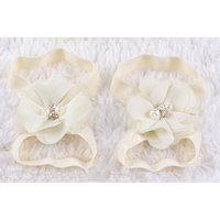 Pinkxenia Newborn Cream Diamond Pearl Flowers Barefoot Sandals Shoes Lace