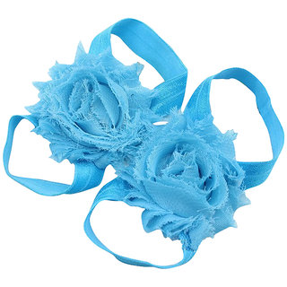 Pinkxenia Light Blue Newborn Baby Boutique Elastic Rosset Shabby Chiffon Flower Barefoot Sandal Shoes