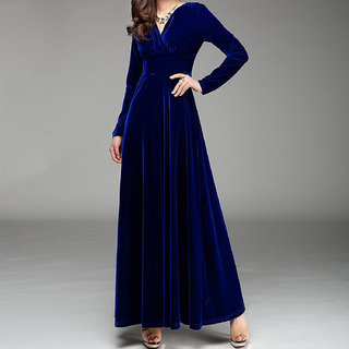 Westchic Royal Blue VELVET V-Neck Long Dress