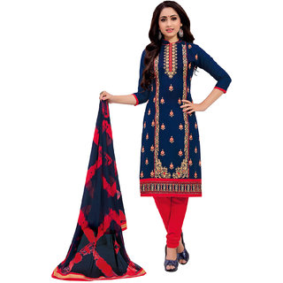 Salwar House Women's Blue  Red Cotton Embroidered Unstitch Dress Material Salwar Suit Patiala Suits Churidar Material Kameez with Dupatta (Unstitched)