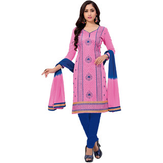 Salwar House Women's Pink  Blue Cotton Embroidered Unstitch Dress Material Salwar Suit Patiala Suits Churidar Material Kameez with Dupatta (Unstitched)