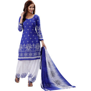Salwar House Women's Blue  White Synthetic Printed Unstitch Dress Material Salwar Suit with Dupatta (Unstitched)