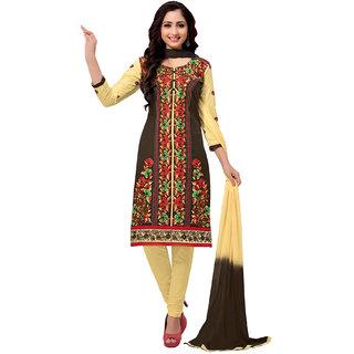 Salwar House Women's Brown  Beige Cotton Embroidered Unstitch Dress Material Salwar Suit Patiala Suits Churidar Material Kameez with Dupatta (Unstitched)