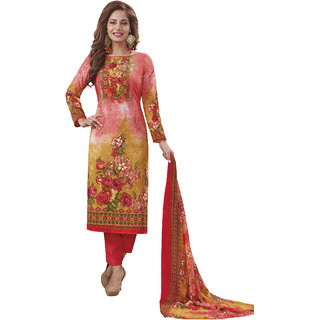 Salwar House Women's Multicolor  Red Synthetic Printed Unstitch Dress Material Salwar Suit with Dupatta (Unstitched)
