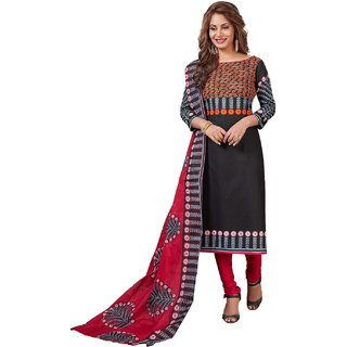 Salwar House Women's Black  Pink Cotton Printed Unstitch Dress Material Salwar Suit Patiala Suits Churidar Material Kameez with Dupatta (Unstitched)