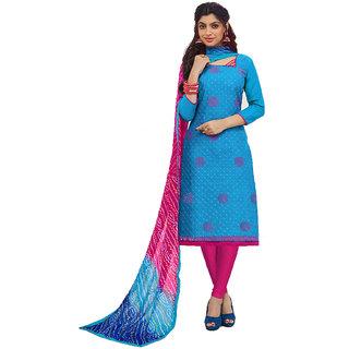 Shree Ganesh Retail Women's Cotton Work With Print Churidar Salwar Kameez Un-stitched Dress Material (BLUE  PINK 3009)