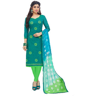 Shree Ganesh Retail Women's Cotton Work With Print Churidar Salwar Kameez Un-stitched Dress Material (GREEN 3008)