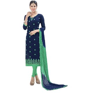 Shree Ganesh Retail Women's Cotton Jacquard Churidar Salwar Kameez Un-stitched Dress Material (8102 Dark Blue  Green)