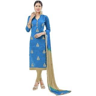 Shree Ganesh Retail Women's Cotton Jacquard Churidar Salwar Kameez Un-stitched Dress Material (8103 BLUE)