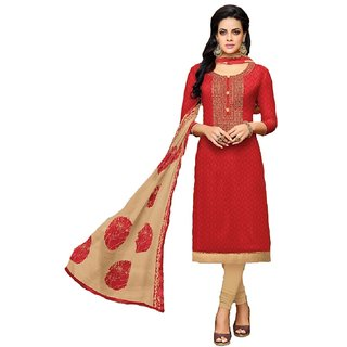 Shree Ganesh Retail Womens Cotton Jacquard Churidar Salwar Kameez Unstitched Dress Material (RED 1012)