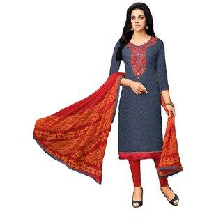 Shree Ganesh Retail Womens Cotton Jacquard Churidar Salwar Kameez Unstitched Dress Material (GREY 1018)