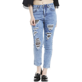 distressed fish net jeans