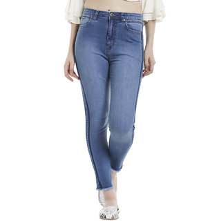 side seam color block jeans