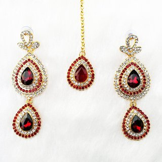 Long Stylish Big Drop Stone Gold Plated Kundan  Earring Tikka Jewelry Set