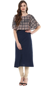 Ziyaa Women's Blue Colour Digital Checkered  Print  Cape With Blue Solid Aline  Crepe Party Wear Kurta