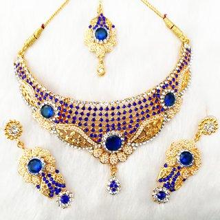 Preety Gold Plated Party Wear Kundan Necklace Earrings Tika Jewelry Set