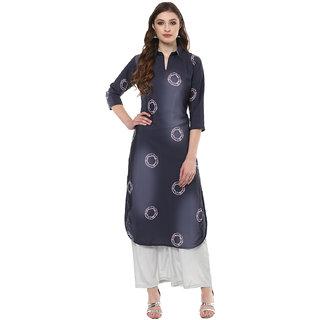 Ziyaa Women's Multicolour Digital Print Tie And Dye  Straight Crepe Casual Wear Kurta