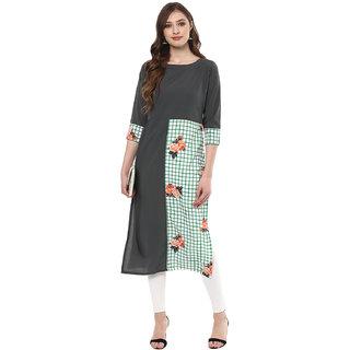 Ziyaa Women's Multicolour Digital Checkered with Floral  Print  Straight  Crepe Casual Wear Kurta
