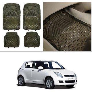 AutoStark Transparent Black Car Floor / Foot Mats For Maruti Suzuki