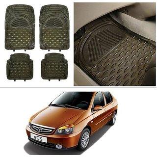 AutoStark Transparent Black Car Floor / Foot Mats For Tata Indigo Ecs
