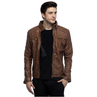 MyTimeIsNow MenS Brown Faux Leather Jacket