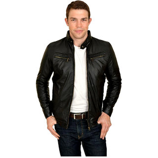 Golden Triangle MenS Black Faux Leather Jacket