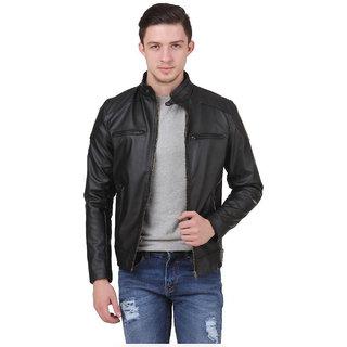 Allwinji MenS Black Faux Leather Jacket