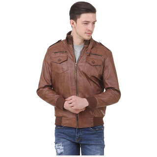 Allwinji MenS Brown Faux Leather Jacket