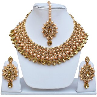Lucky Jewellery Gold Plated Gold Alloy  Necklace Set For Women