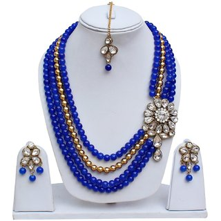 Lucky Jewellery Gold Plated Blue Alloy  Necklace Set For Women