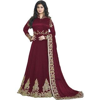 Salwar Soul Maroon  Georgette Embroidered Anarkali Suit Material