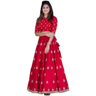 Salwar Soul Red Banglory Silk Embroidered Anarkali Suit Material
