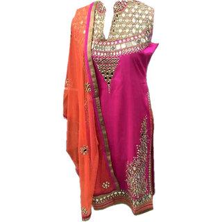 Salwar Soul Pink Georgette Embroidered Anarkali Suit Material
