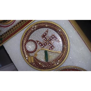 KESAR ZEMS Marble Puja Thali