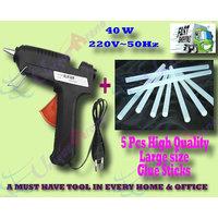 40 W Brand New Hot Melt Glue Gun + 5 Pcs BIG Glue Sticks For Multi-purpose Use