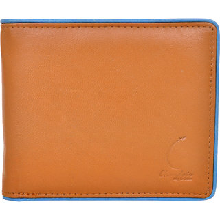Chandair Pure Leather Tan with Light Blue Piping Mens Wallet (CH-NW-13)
