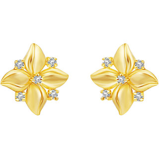 MJ Studded CZ Gold Plated Stud Earring For Women