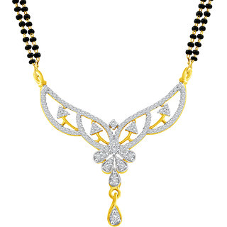 MJ Beautiful CZ Gold Plated Mangalsutra For Women