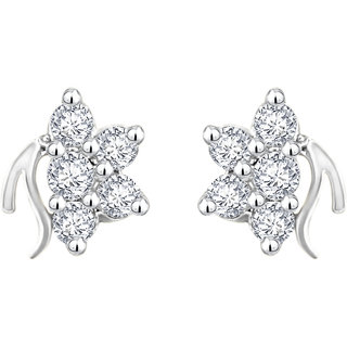 Mj Fashionable Cz Rhodium Plated Stud Earring For Women