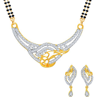 MJ Classic CZ Gold Plated Mangalsutra Set For Women